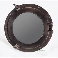 "Ships Cabin Porthole Mirror Aluminum 15"" Bronze Finish Nautical Wall Decor New"