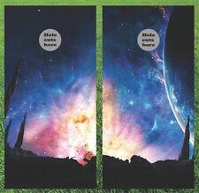 "Galaxy Stars And Planet Cornhole Wrap Decal Set - 24x48"" - Fast Shipping!!"