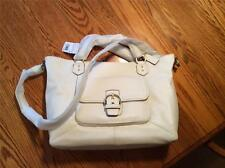 Coach Extra Large White LeatherTote, Handle Strap and Cross Body, Brass Hardware