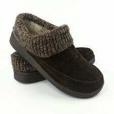Clarks Knit Scuff Brown Suede Leather Indoor Outdoor Slipper Mule Womens Size 7M