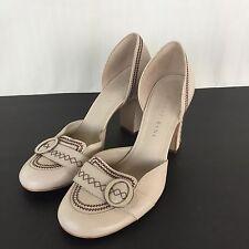 Gianni Bini SZ 9M Ladies High Block Heel Shoes Leather Tan Casual Career Wear