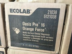 Case of 2 Ecolab 6121038 Oasis Pro 16 Orange Force Room Refresher 2L Each
