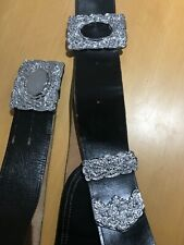 Pipers Cross Belt and Waist Belt with Thistle Design Buckles