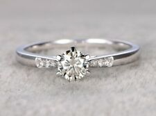 Engagement Ring Solid 14k White Gold 1.30 Ct Round Moissanite Solitaire 6 Prong