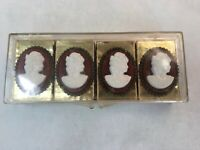 Lot of 4 Vintage Cameo Style Match Boxes with Gold Wood Matches in Case