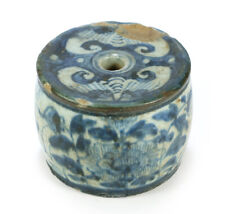 Antique Chinese Blue & White Pottery Scroll Weight - Floral Design w/ Text 1800s