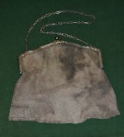 Vintage Birks Sterling Silver Mesh Handbag with a Sapphire Bead Handle Over 9ozt
