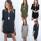 Plus Size Womens Chiffon Loose V Neck Shirt Dress Long Sleeve Casual Blouse Tops