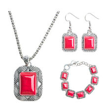 Women Vintage Red Turquoise Stone Pendant Necklace Earrings Bracelet Jewelry Set