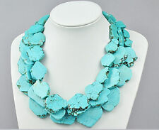 Turquoise Slice Handmade Exaggerate Choker Necklace 3 Layer Woman Gift Party