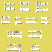 Hello Friend Sending Wishes Words Metal Cutting Dies Scrapbooking Stencil Crafts