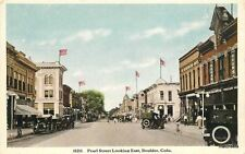 1910 Boulder Colorado Pearl Street looking East autos flags HTTCO 7277