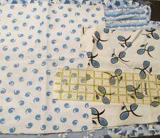 Vtg 40s cotton flannel scrap remnant fabric GRUNGE bundle 8 oz BLUE primitive