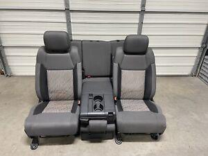 2014-2019 Toyota Tundra Front & Rear Double Cab Seats Gray Grey cloth NICE