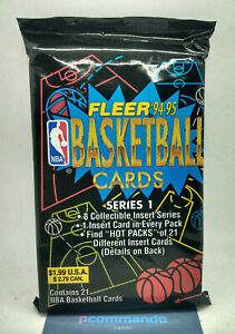1994-95 Fleer Series 1 NBA Basketball Sealed Jumbo/Cello/Value Card Pack IN UK!