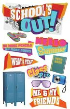 Paper House SCHOOL'S OUT 3D Stickers STDM-0124 Brand NEW! locker yearbook camera