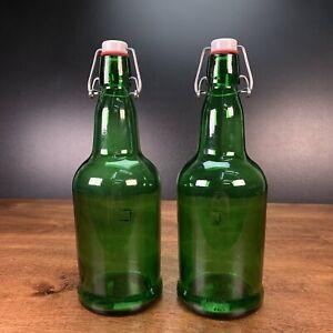 Vintage Green Swing Top Beer Bottles Set Of 2