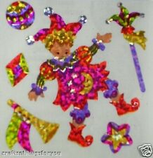 *VINTAGE* Sandylion Glittery CHILD JESTER Scrapbooking Stickers *3 Square* H32