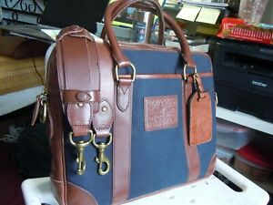 NEW POLO Ralph Lauren Commuter Gentleman's Briefcase Bag Canvas Leather  2