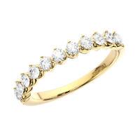 0.50 Ct Claw Set Round Brilliant Cut Diamond Half Eternity Ring 18K Yellow Gold