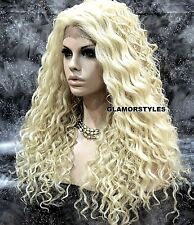 Human Hair Blend Hand Tied Monofilament Lace Front Full Wig Long Curly Blonde