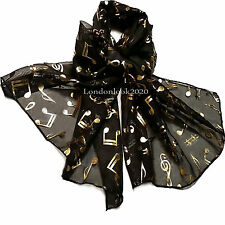 Women Ladies Music Note Foil Red Scarf