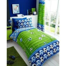 FOOTBALL GOAL SHOOT KID BOYS SINGLE BED DUVET QUILT COVER BEDDING SET GREEN BLUE