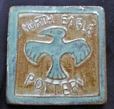 "vintage ceramic tile North Eagle Pottery 4"" sq, green/browns, hang to display"