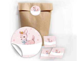 Geschenktüten + Aufkleber Bambi Geschenkverpackung Kindergeburtstag Taufe