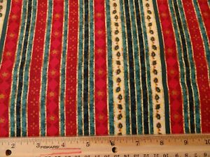 BTY Christmas stripes in red green gold
