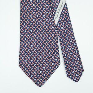 SALVATORE FERRAGAMO TIE Duck & Paisley on Dark Blue Classic Silk Necktie