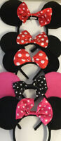 Lot of 5 Disney Mickey Mouse Minnie Ears Headband Glitter Bling Pink Red Bow EUC