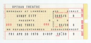 Rare THE TUBES & GOLDEN EARRING 4/30/76 Chicago IL Uptown Theatre Ticket Stub!