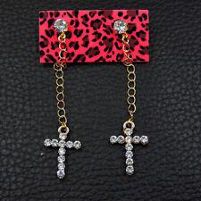 Betsey Johnson White Enamel Cute Cross Earbob Women's Dangle Earrings