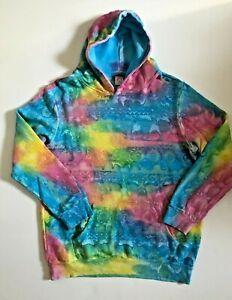 New MOWGLI SURF Rainbow Tie Dye Cotton Hoodie Sweatshirt sz L Rare Free Ship