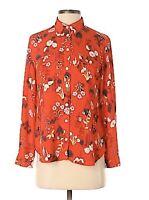 Ann Taylor LOFT Red Floral Print Blouse Long Sleeve Women's Size US M medium