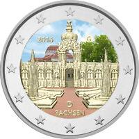 5x 2 Euro Gedenkmünze BRD 2016 ADFGJ Sachsen coloriert / Farbe / Farbmünze