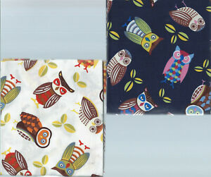 """Fat Quarter Owls set of 6.. 100% cotton.. Approx 18"""" x 22"""".  Designed in England"""