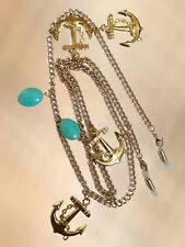 NEW Gold Anchor & Turquoise Stone Glasses Chain Necklace Strap Holder Long