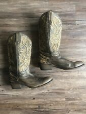 Stetson Mens Western Cowboy Boots Brown Distressed Leather Size 11 Rare Tall EUC