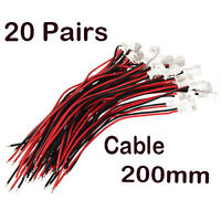 20Pairs Micro JST 1.25 2-Pin Male Female Connector plug with Wires Cables 200mm