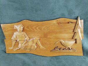 Vintage Rezbar Rajec WOOD PLAQUE Carving Slovakia Folk Art Woodcutting 1971