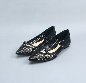 Christian Dior Black Net Leather Ballet Flat Shoes 37 US7 Made in Italy