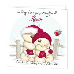 PERSONALISED OUR FIRST CHRISTMAS TOGETHER 2021 CARD- FIZZY MOON BEAR - ADD NAME