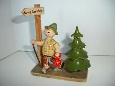 Vintage Erzgebirge HEDO wood figure Hiking Boy w/ Tree sign Kamp-Bornhofen