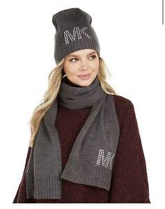 Michael Kors Metal Studded Scarf & Hat Set Black Brand New $88 Logo