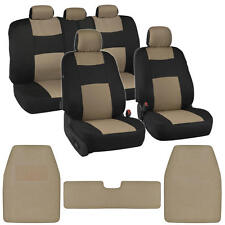 Polyester Cloth Seat Covers for Car + Front & Rear Carpet Floor Mats Black & Tan