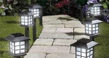Lot de 6 led blanches energie solaire extérieur lanterne de jardin chemin stake lights 28cm