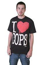 Tavik USA Mens Black White Piggy I Love Hate Cops Police Brutality T-Shirt NWT