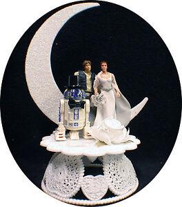 Star War Wedding Cake Topper Han Solo Princess Leia R2 Space Bride Groom Top